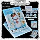 Christmas Mice & Snowman Easel Card Kit With Decoupage etc.