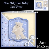 New Baby Boy Teddy Card Front