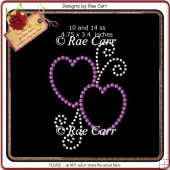 RS800 Two Hearts Rhinestone Templates *Multiple MACHINE Formats*
