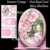 Summer Cottage - Oval Easel Card