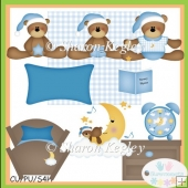 Bed Time Bears Blue Clip Art