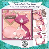 Purrfect Pals 7.5 Inch Card Front with Decoupage, Insert & Tags