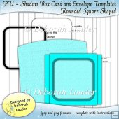 PU - Square Shaped Shadow Box Card and Envelope Templates