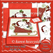 Polar Bear Santa In Sleigh 5x5 Gift Box