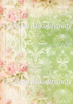 Cottage Roses and Damask Background Backing Paper