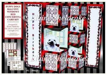 Red Balcony Puppy Dogs - Pop Out Concertina Card Kit