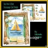 Sea View & Boat Decoupage Card Design
