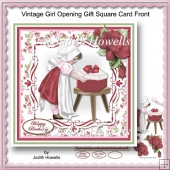 Vintage Girl Opening Gift Square Card Front