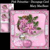 Pink Poinsettias - Decoupage Card