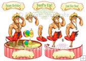 Beach Boy Lifeguard Shaped Card Topper With Decoupage