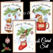 Cute Christmas Kittens - Set of 3 Cards