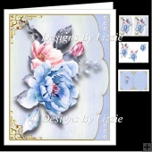 Blue Rose Envelope Card Mini Kit