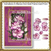 Carnations In Maroon And Gold Frame Card Front
