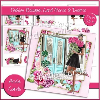 Fashion Bouquet 7.4in & 5.5in Card Fronts & Inserts