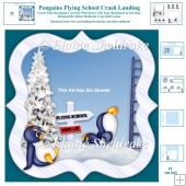 Penguins Flying School - Crash Landing - Cut And Fold Card Kit