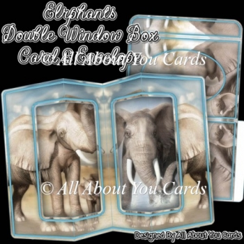 Elephants Double Window Box Card