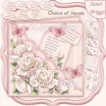 Square Scallop Pocket Pearl Anniversary Roses Wedding Birthday