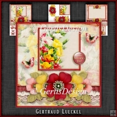 Vintage Grunge Card Kit Flowers and Laces red yellow 1148