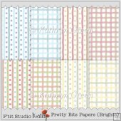 8 Pretty Bits Bright Backing Papers - Stripes n Dots and Checks