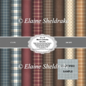 Mens Check Faux Fabrics Set One 12 x 12 Backing Papers for Craft
