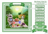 Baby Bunnys Picnic Tea - Card Topper To Fit 8 x 8 Comfortably