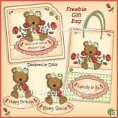 Red Rose Bear Card Kit & Freebie Gift Bag