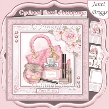 FASHION ESSENTIALS PINK 7.5 Decoupage & Insert Kit Optional Rose
