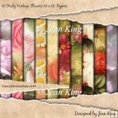 10 Truly Vintage Flowers 12 x 12 Papers