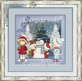 snowball fun 7x7 card with decoupage