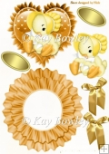 Cute little chick in a yellow bonnet on frilly rocker with bows