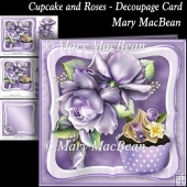 Cupcake and Roses - Decoupage Card