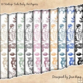 10 Vintage Toile Baby A4 Papers