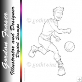 Basketball Dude Digi Stamp