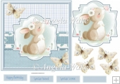 Rabbit and butterfly 7x7 card