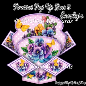 Pansies Pop Up Box Card & Envelope