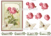 Vintage rose and butterfly 5x7