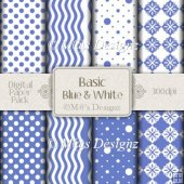 Basic Blue and White Paper Pack