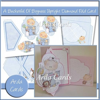 A Bucketful Of Boyness Upright Diamond Fold Card
