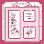 Pink flowers and butterfly small scalloped card set