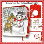 Snowman And Deer Scalloped Edge Card Kit