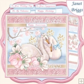 SWAN LOVE Romantic 7.5 Decoupage & Insert Card Kit