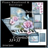 Piano Easel Card blue