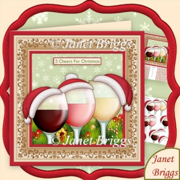 3 Cheers for Christmas Wine 8x8 Decoupage Kit