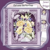 CREAM PEONIES & BUTTERFLIES All Occasions Quick Card & Insert
