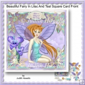 Beautiful Fairy In Lilac And Teal Square Card Front