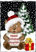 Cute little bear in santa hat for a daughter in A4