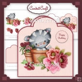 Puddy cat flowerpot and flowers card