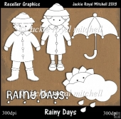 Rainy Days Colour Your Own Reseller Clipart