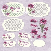 May Mauve Vintage Flower ShapedTrellis Card cutting file