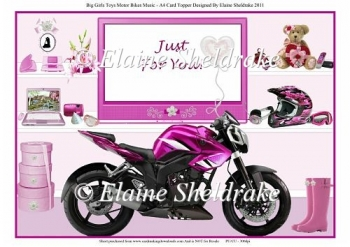 Big Girl's Toys Motorbike - A4 Card Topper CU/PU